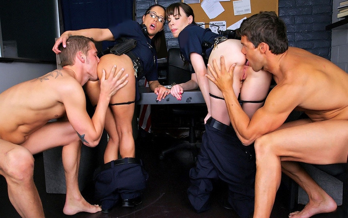 A busty american blonde gangbanged by horny mexican cops